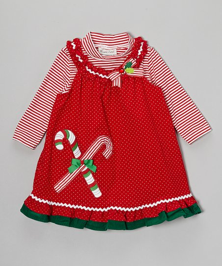 Red Stripe Top & Candy Cane Corduroy Jumper - Infant, Toddler & Girls