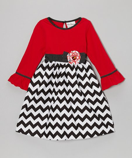 Red & Black Zigzag Dress - Girls' Plus