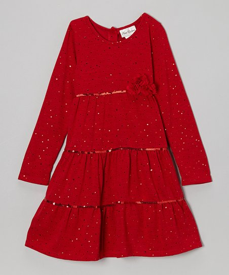 Red Sparkle Tiered Dress - Girls' Plus
