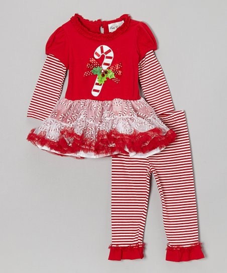 Red Candy Cane Dress & Leggings - Infant