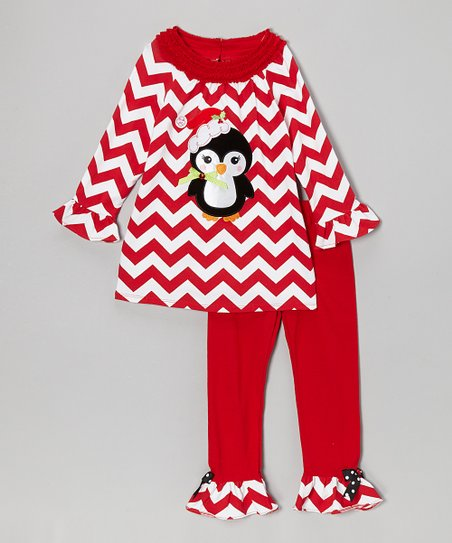 Red Zigzag Penguin Tunic & Ruffle Leggings - Girls