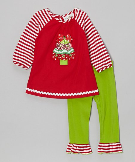 Red & Lime Tree Tunic & Legging - Girls
