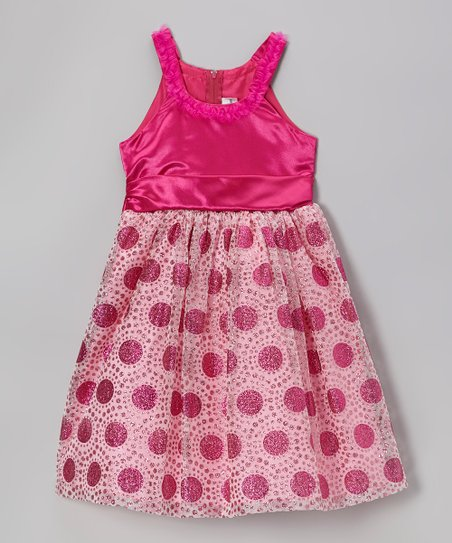 Pink & Fuchsia Dot Skirt Dress - Toddler & Girls