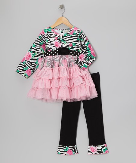Pink & Black Rosey Tunic & Leggings - Infant, Toddler & Girls