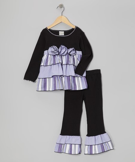 Black & Lilac Rose Tunic & Ruffle Pants - Toddler & Girls