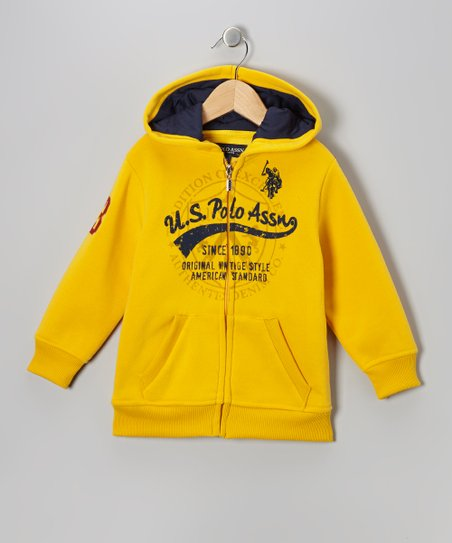Egg Yolk 'U.S. Polo Assn' Zip-Up Hoodie - Toddler & Boys