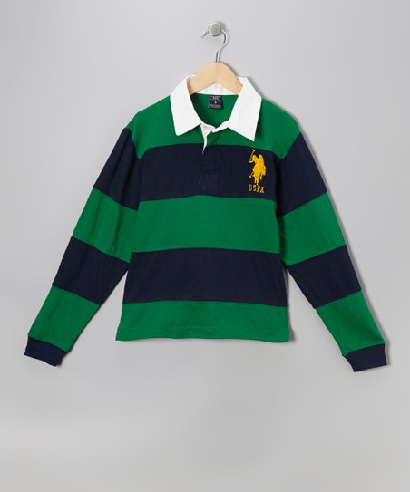 Kelly Green & Navy Stripe Polo - Boys
