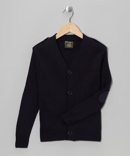 Navy V-Neck Cardigan - Boys