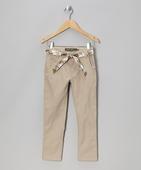 Khaki Plaid Belted Pants - Girls