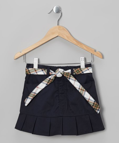 Navy Plaid Belted Pleated Skirt - Girls