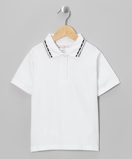 White & Black Stripe Collar Polo - Girls