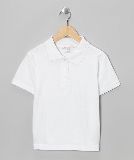 White Scallop-Trim Polo - Girls
