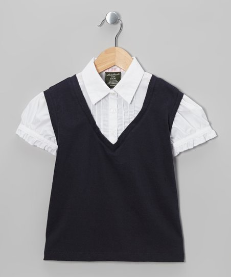 Navy & White Layered Sweater Vest - Girls