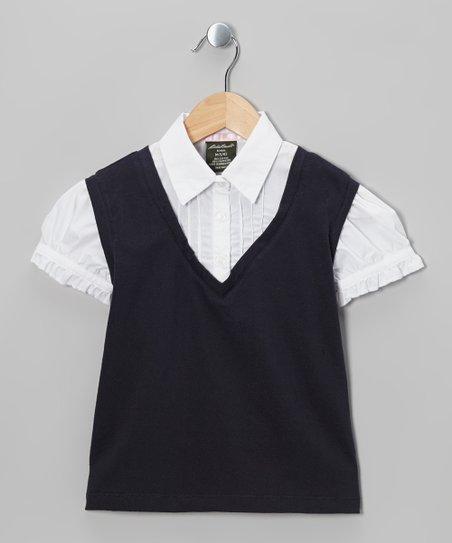 Navy & White Layered Sweater Vest - Girls