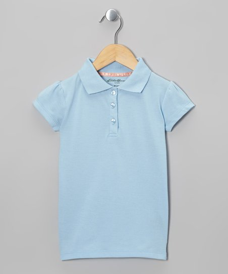 Blue Cap-Sleeve Polo - Girls