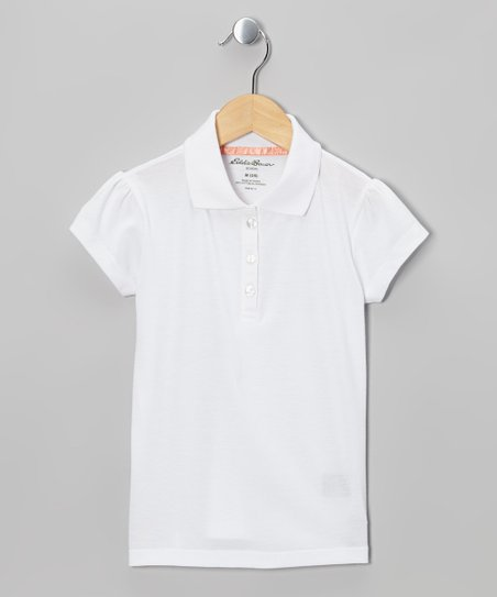 White Cap-Sleeve Polo - Girls