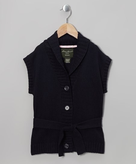 Navy Knit Belted Cardigan - Girls