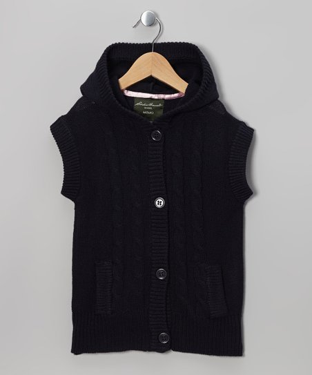 Navy Knit Hooded Cardigan - Girls