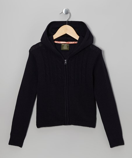 Navy Knit Zip-Up Hoodie - Girls