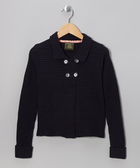 Navy Knit Double-Breasted Cardigan - Girls