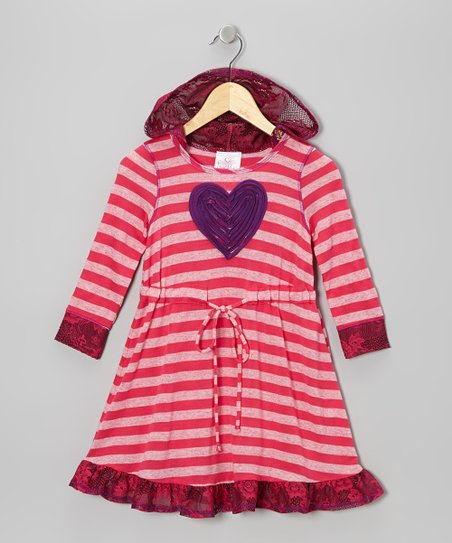 Fuchsia Stripe Heart Hooded Dress - Toddler & Girls