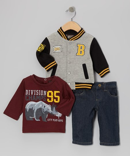Red 'Division Champs' Bear Tee Set - Toddler