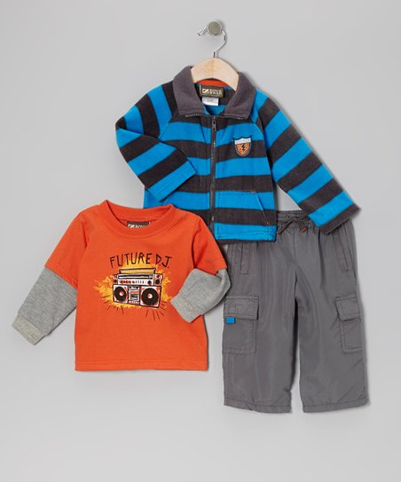 Orange & Blue 'Featured DJ' Jacket Set - Infant & Toddler