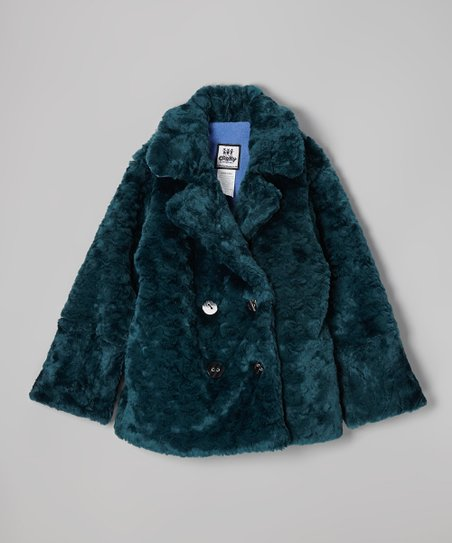 Teal Crush Faux Fur Peacoat - Girls