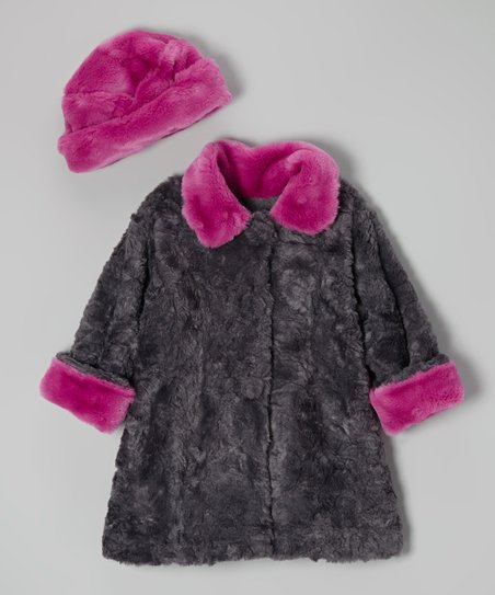 Gray & Berry Fur Sweet Peacoat & Hat - Infant, Toddler & Girls
