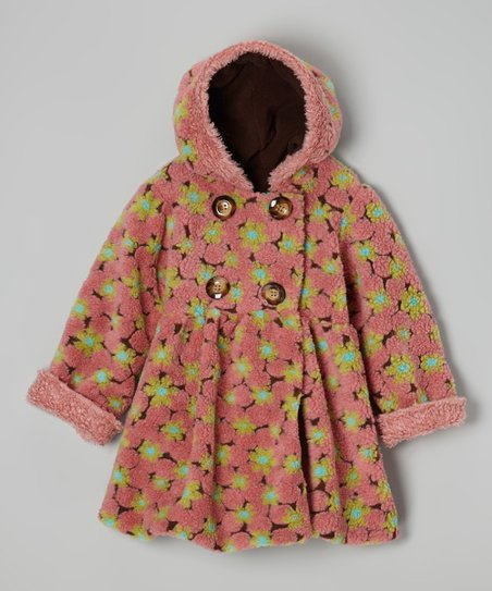 Pink & Brown Lola Flower Bubble Coat - Infant & Girls
