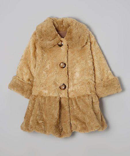 Tan Faux Fur Sweet Pea Skirted Coat - Toddler & Girls
