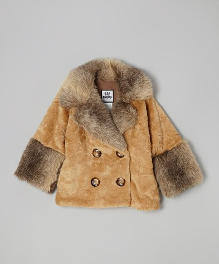 Caramel Crushed Faux Fur Peacoat - Girls