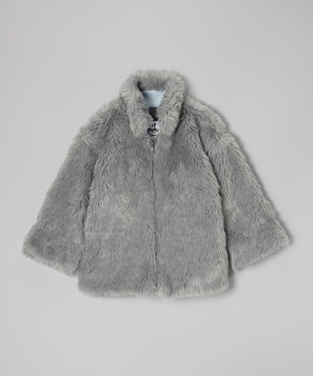 Gray Long Faux Fur Zip-Up Jacket - Girls
