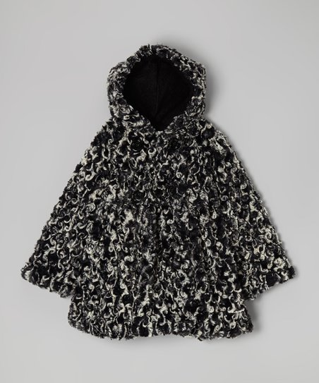 Black Twist Faux Fur Bubble Coat - Infant, Toddler & Girls