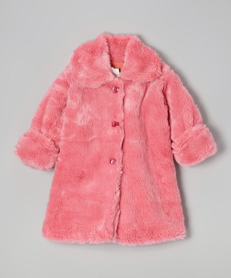 Brite Pink Faux Fur Sweet Pea Coat - Toddler