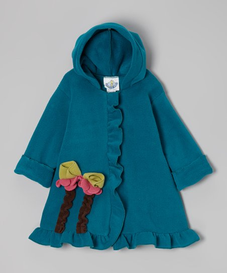 Glacier Green Fleece Hooded Swing Coat - Infant, Toddler & Girls