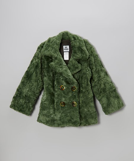 Forest Green Faux Fur Peacoat - Girls