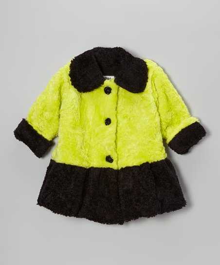 Neon Green Faux Fur Sweet Pea Coat - Girls