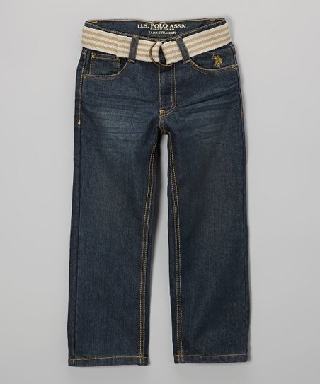 Washed Crinkle Belted Straight-Leg Jeans - Toddler & Boys