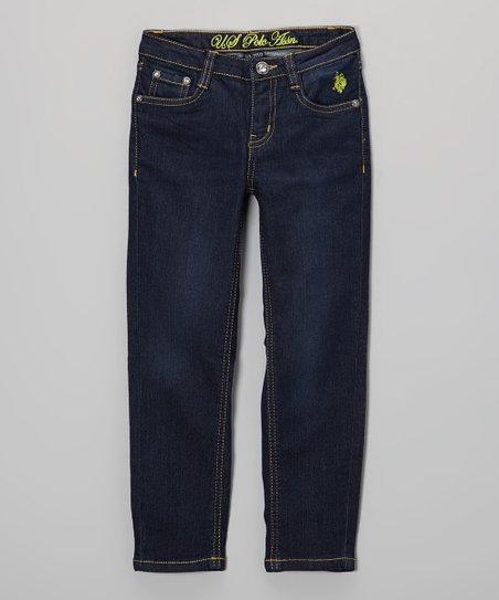 Medium-Wash & Lime Embroidered Jeans - Toddler & Girls