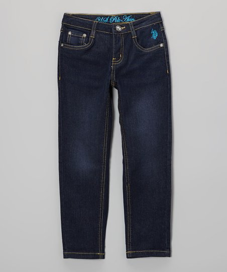 Medium-Wash & Blue Embroidered Jeans - Toddler & Girls