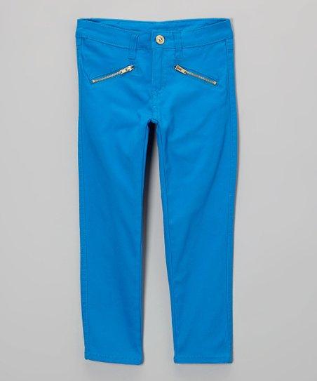 Blue Zipper Pocket Pants - Toddler & Girls