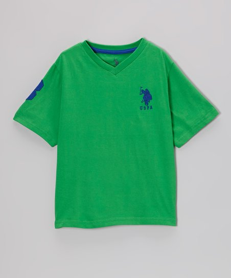 Green 'USPA' V-Neck Tee - Toddler & Boys