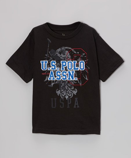 Black 'U.S. Polo' Tee - Boys
