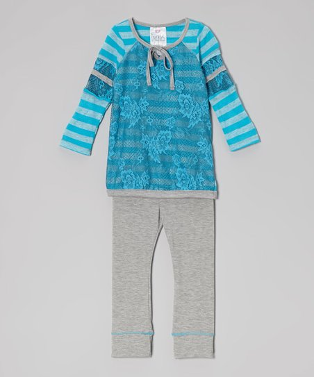 Turquoise Sporty Spice Tunic & Gray Leggings - Toddler & Girls