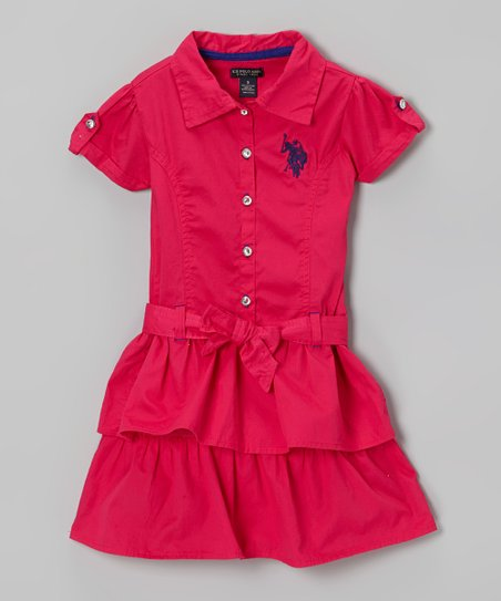 Raspberry Ruffle Sash Shirt Dress - Girls