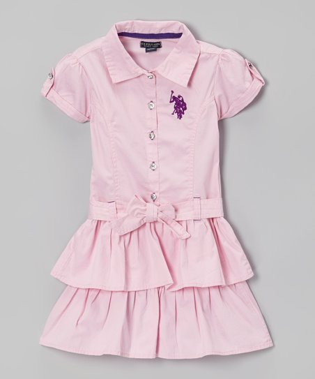 Sugar Pink Ruffle Sash Shirt Dress - Girls