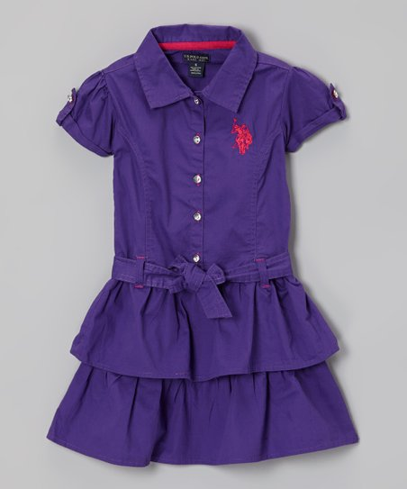 Purple Ruffle Sash Shirt Dress - Girls