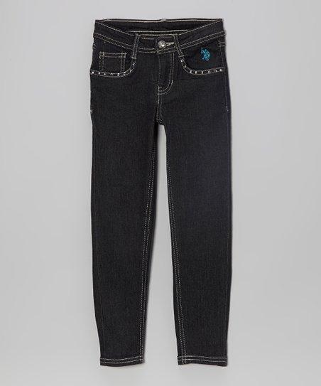 Navy Blue Embellished Skinny Jeans - Girls