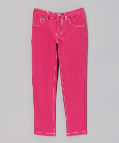 Pink & White Skinny Jeans - Girls